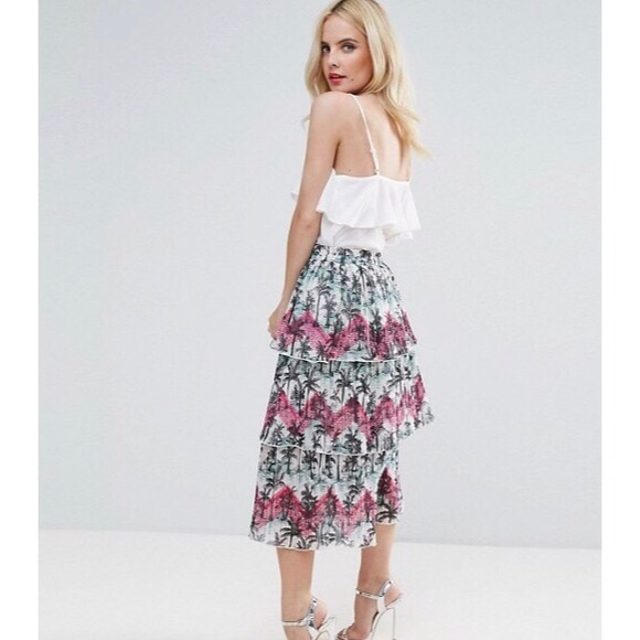 52d460c3c0b5 ASOS Dresses   Skirts - ASOS Pleated Midi Skirt with Tiers in Palm Print
